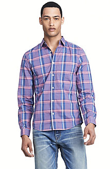 Fitted Pocket Plaid Shirt