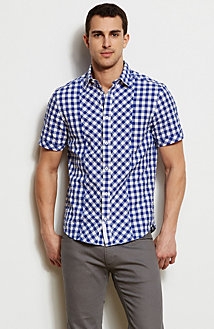 Short Sleeve Buffalo Check Shirt<br>Online Exclusive
