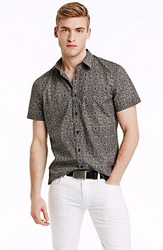 Short Sleeve Floral Scroll Print Shirt