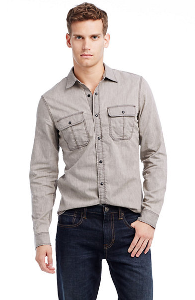 Washed Grey Denim Shirt