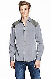 Pieced Chambray Shirt