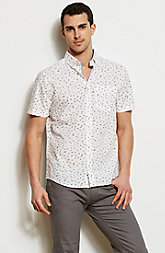 Short Sleeve Bird Print Shirt<br>Online Exclusive