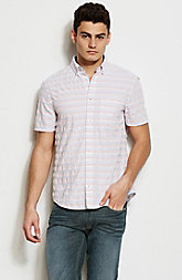 Short Sleeve Textured Stripe Shirt