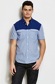 Short Sleeve Mixed Print Shirt