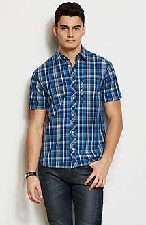 Short Sleeve Blue Plaid Shirt