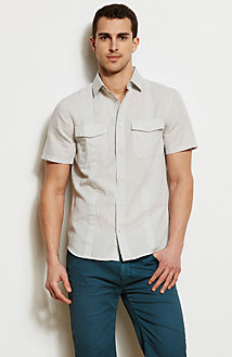 Striped Linen Blend Utility Shirt