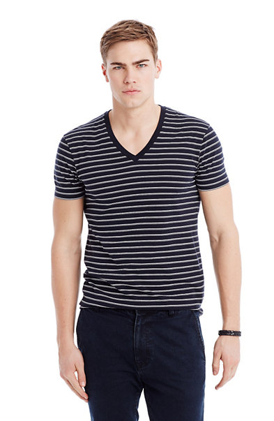 Striped Pima V-Neck