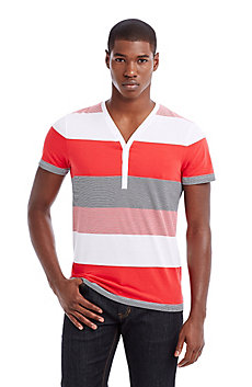 Multi-Stripe Cotton Henley