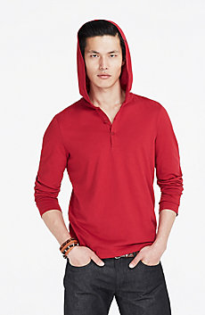 Button Front Pima Hoodie