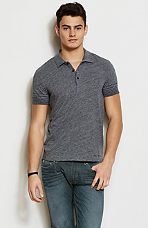 Stripe Sleeve Heathered Polo