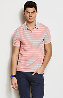 Textured Striped Polo