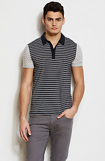 Mixed Stripe Pima Polo