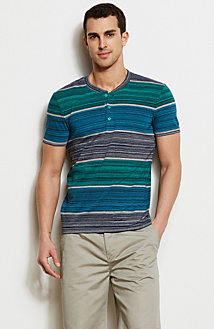 Space Dye Striped Henley