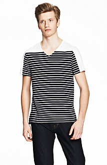 Solid and Stripe V-Neck