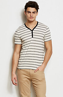 Textured Stripe Knit Henley