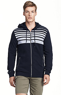 Placed Stripe Zip-Up Hoodie