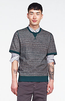 Short-Sleeve Heathered Sweatshirt