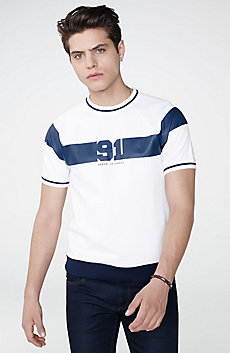 91 Stripe Short-Sleeve Sweatshirt