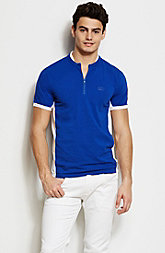 Mesh Stripe Zippered Henley
