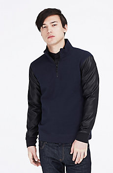 Faux Leather Quarter Zip