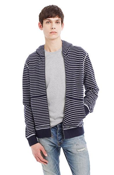 Striped Slub Cotton Hooded Jacket