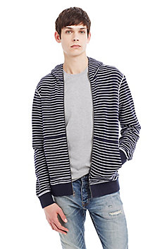 Striped Slub Cotton Hooded Jacket