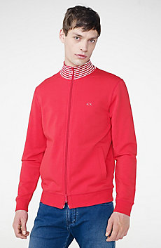 Stripe Mockneck Zip-Up