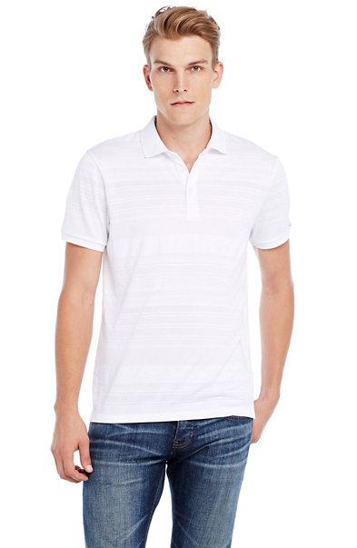 Short Sleeve Textured Stripe Polo