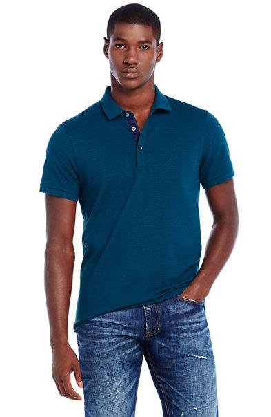 Short Sleeve Stripe Pique Polo