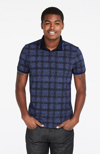 Texture Plaid Print Polo