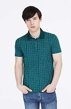Slash Squares Print Polo