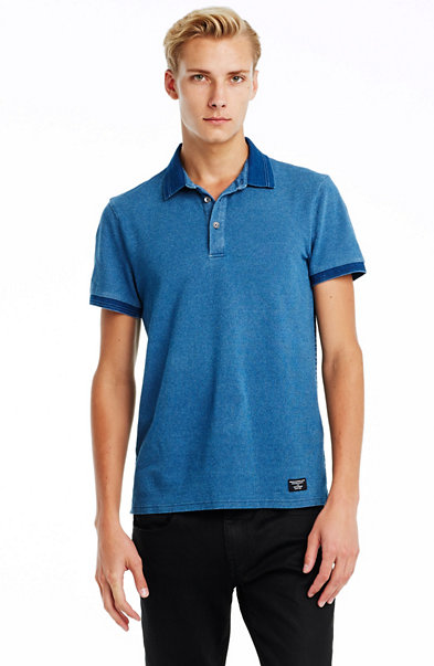 Indigo Stripe Back Polo