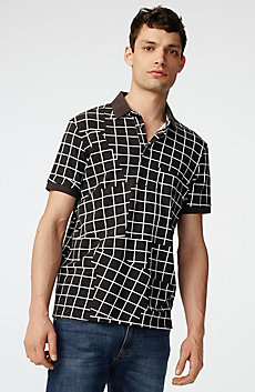 Broken Grid Printed Polo