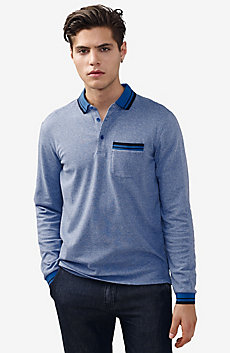 Striped Long-Sleeve Pocket Polo