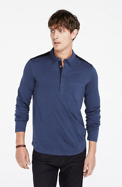Mercerized Long-Sleeve Polo