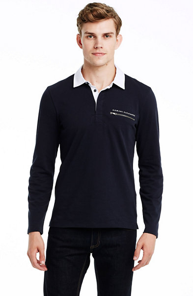 Long Sleeve Zip Pocket Polo