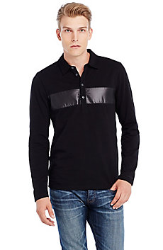 Long Sleeve Shine Stripe Polo