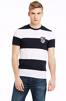 Yarn-dyed Short Sleeve Stripe Crew