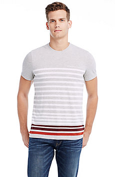 Short Sleeve Contrast Stripe Crew