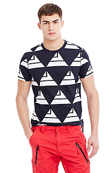 Geometric Sail Cotton Print Tee