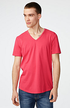 Seamed Arm V-Neck