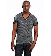 Short Sleeve Mixed Stripe V-neck