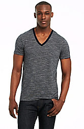 Short Sleeve Mixed Stripe V-neck