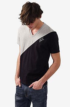 Diagonal Colorblock V-Neck