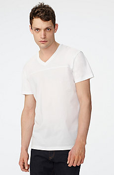 Mixed-Media Paneled V-Neck