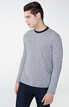 Mini-Stripe Long-Sleeve Crew