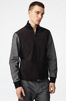 Woven Paneled Mockneck Jacket