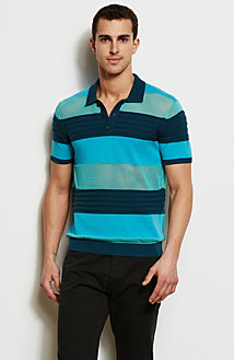 Mesh Stripe Polo Sweater