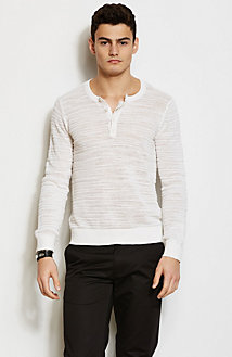 Textured Stripe Henley Sweater