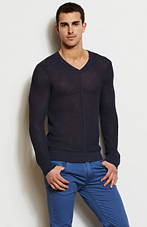 Seamed V-Neck Sweater